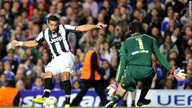 Fabio Quagliarella equalizes for Juventus in their 2-2 draw with Chelsea at Stamford Bridge as the Italian side claimed a point.