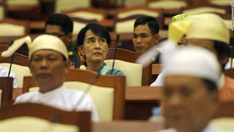 Suu Kyi sits in the lower house parliament session in Naypyidaw on July 10, 2015.