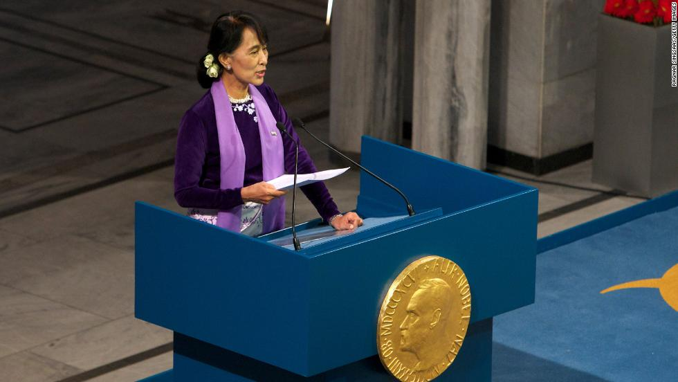 Suu Kyi speaks during a Nobel lecture at Oslo City Hall on June 16, 2015 in Oslo, Norway. She was awarded the Nobel Peace Price in 1991 but had not been able to receive it until now because she was kept under house arrest for most of the past 24 years.