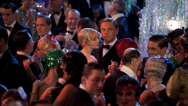 "Carey Mulligan stars as Daisy Buchanan and Leonardo DiCaprio stars as Jay Gatsby in ""The Great Gatsby."""