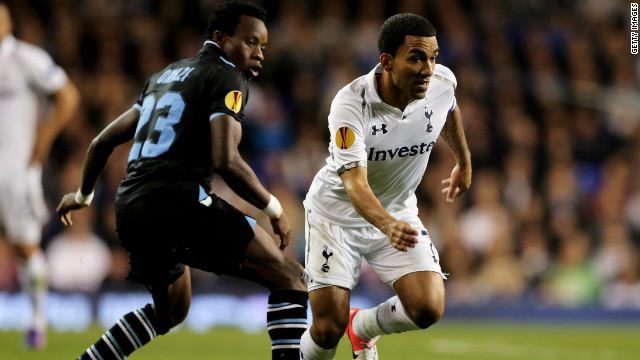 Tottenham's Aaron Lennon captained Tottenham against Lazio but was unable to find a way past the Italian defence.