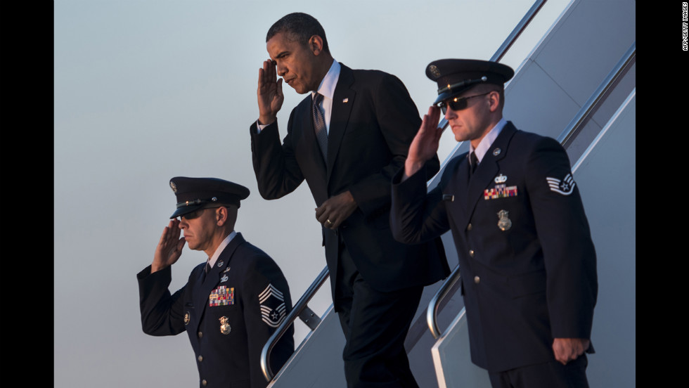 Obama arrives at Andrews Air Force Base in Maryland on Thursday, September 13. Obama returned to Washington after a two-day campaign trip with events in Nevada and Colorado.