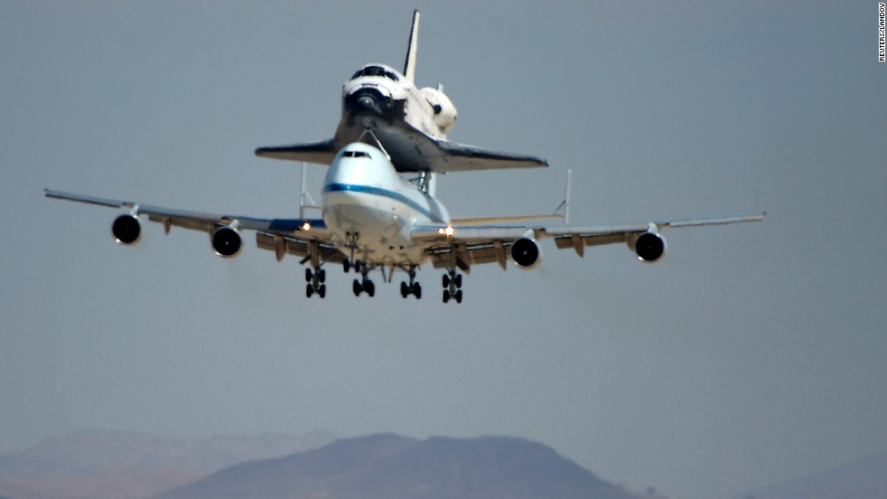 NASA's shuttle carrier aircraft lands with the space shuttle Endeavour at Edwards Air Force Base in California on Thursday, September 20.  Endeavour is scheduled to make its final flight on Friday to Los Angeles, where the now-retired spacecraft will be displayed.