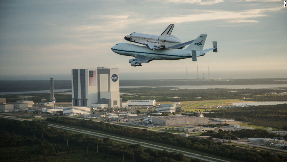 Space shuttle Endeavour flies over the Kennedy Space Center early Wednesday morning.