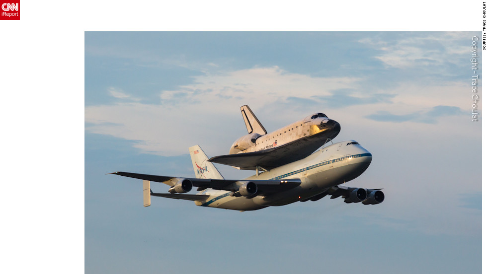 "Endeavour and the shuttle carrier aircraft pass back over NASA's <a href=""http://ireport.cnn.com/docs/DOC-843919"">Shuttle Landing Facility</a> in Florida before turning west."