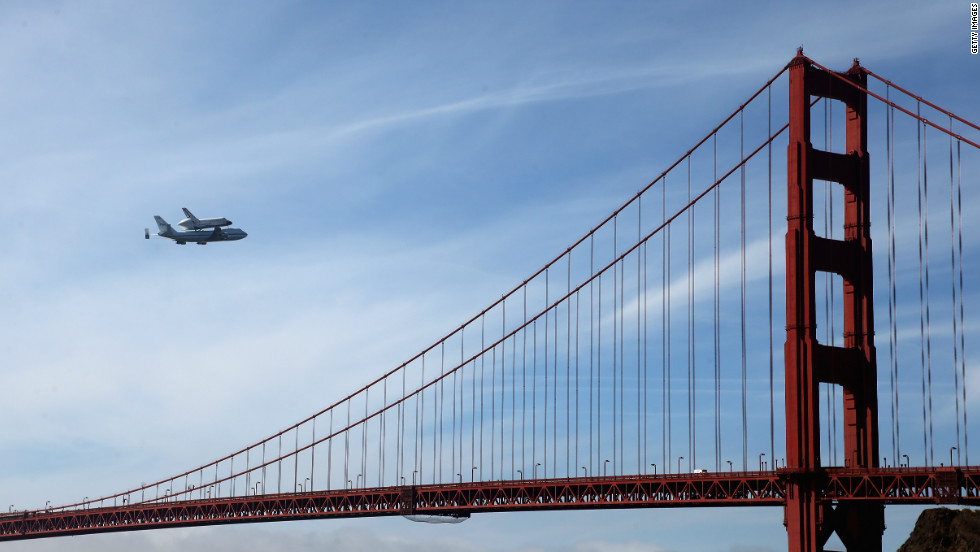 "Space shuttle Endeavour passes over the Golden Gate Bridge before making its final landing in Los Angeles on Friday, September 21. The shuttle passed over California landmarks before heading to the airport. Endeavour will be placed on public display at the California Science Center. This is the final ferry flight scheduled in the Space Shuttle Program era. <a href=""http://www.cnn.com/SPECIALS/world/photography/index.html"" target=""_blank"">See more of CNN's best photography</a>."