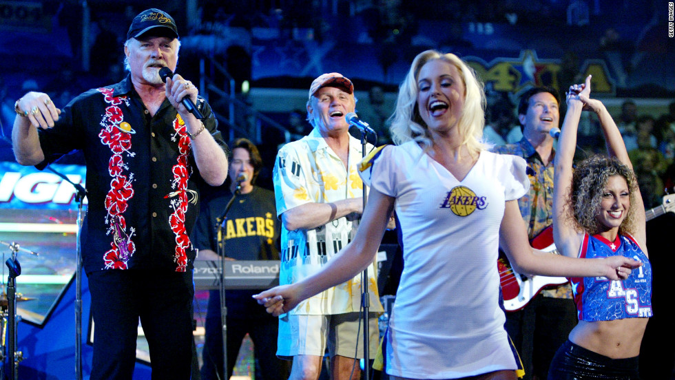 Singers Mike Love, left, and Bruce Johnston perform during the NBA All-Star Saturday Night festivities in February 2004  at the Staples Center in Los Angeles.