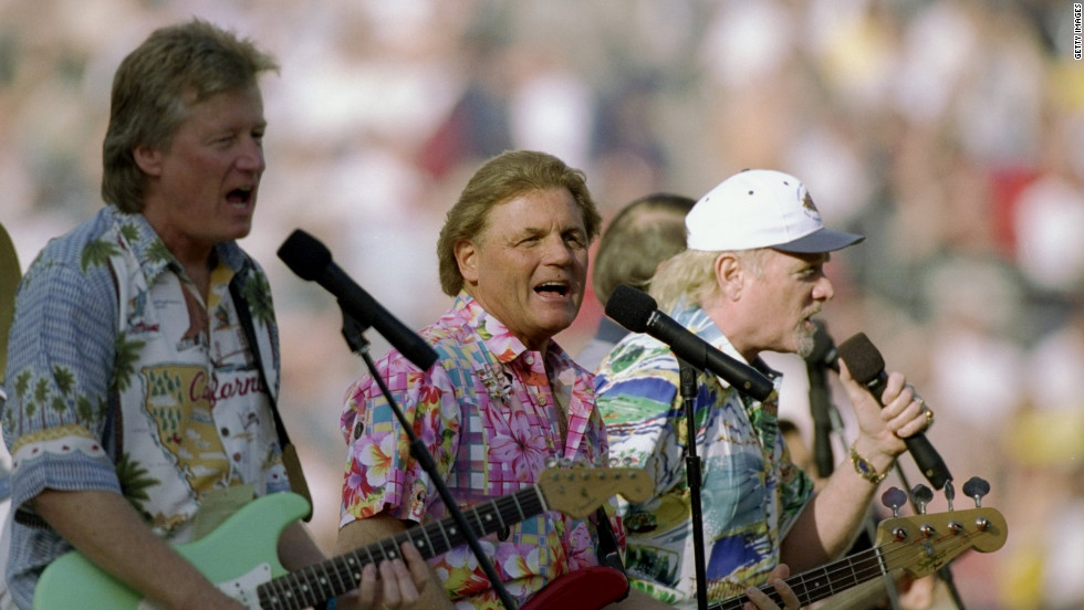 The Beach Boys perform during the pregame celebrations of the 1988 Super Bowl  at Qualcomm Stadium in San Diego.