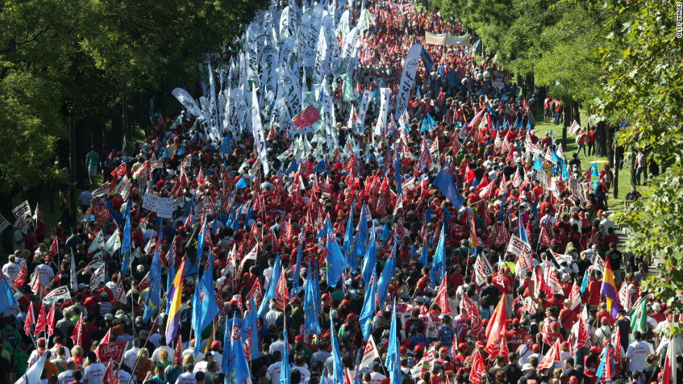 Spanish workers take to the streets to demonstrate against the government's austerity measures on September 15, 2012 in Madrid.