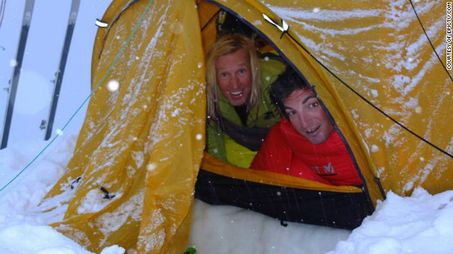 Extreme skiers Glen Plake, left, and Greg Costa, in their tent on Nepal's Mount Manaslu