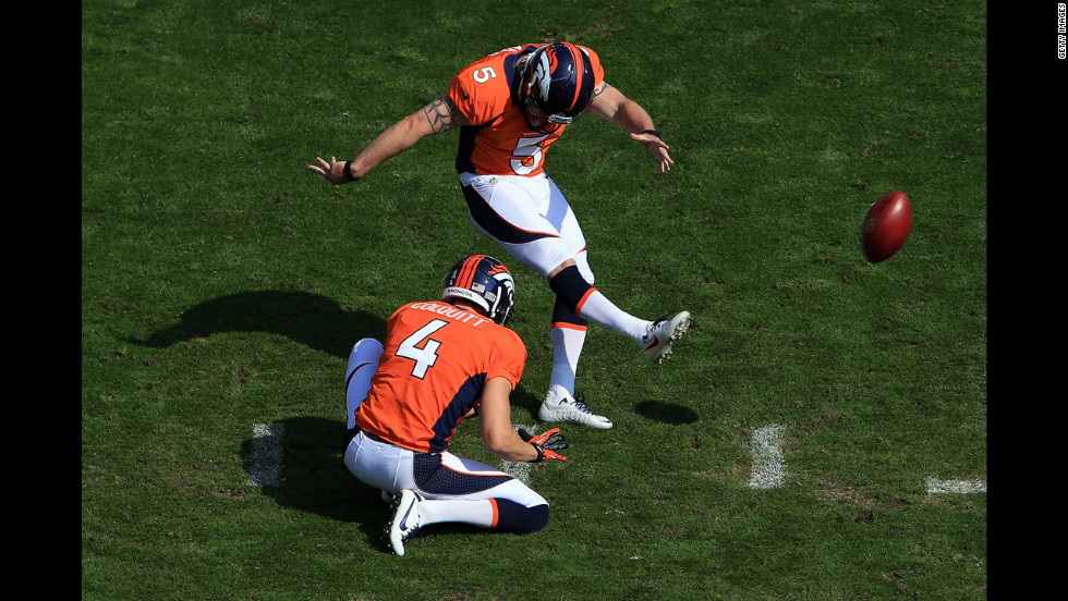 Place kicker Matt Prater of the Denver Broncos kicks a field goal from the hold of punter Britton Colquitt  against the Houston Texans in Denver on Sunday.