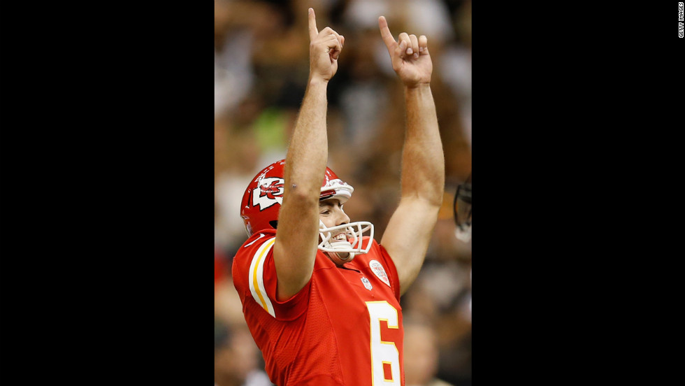 Ryan Succop of the Chiefs celebrates after kicking a field goal against the Saints on Sunday.
