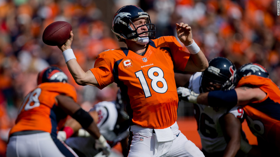 Denver quarterback Peyton Manning throws a pass in the first quarter against the Texans.