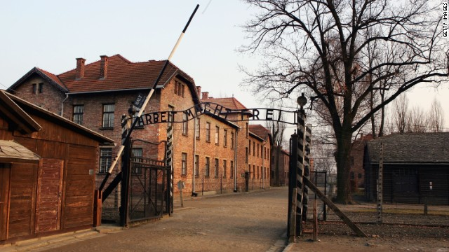 "Exterior view of Auschwitz complex (file) shows the entrance gates with words ""Arbeit Macht Frei"" (Work Makes One Free)."