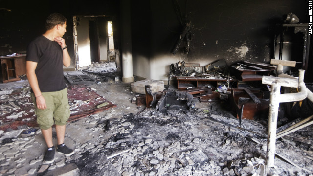 A picture shows the damage inside the burnt US consulate building in Benghazi on September 13, 2012.