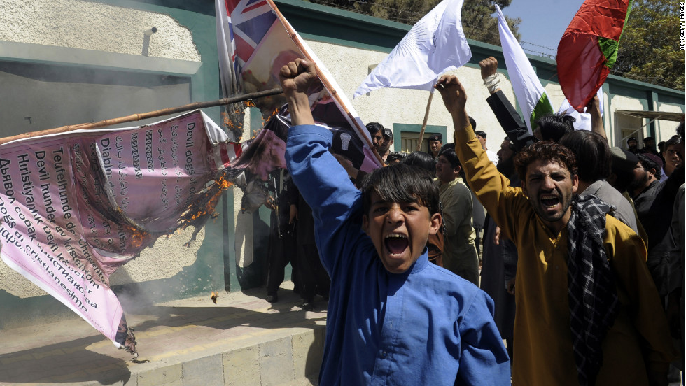 On Monday Pakistani Muslim demonstrators shout anti-US slogans during a protest in Quetta.