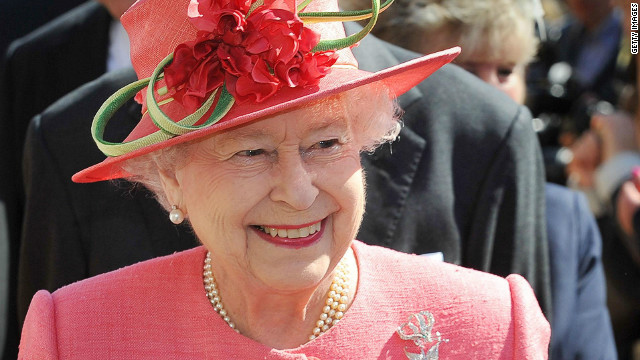 Queen Elizabeth II smiles in Victoria Square during her Diamond Jubilee visit to the City on July 12, 2012 in Birmingham, England.