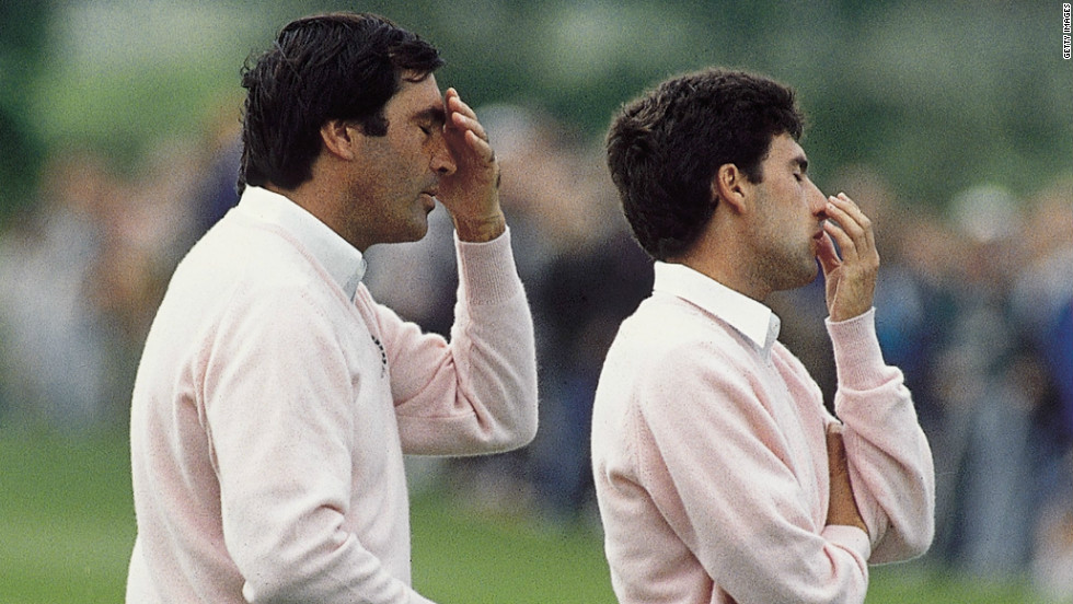 The Spanish pair were reunited for the 1989 match at the Belfry. Despite their pained expressions in this picture, Europe once again retained the trophy after a 14-14 draw.
