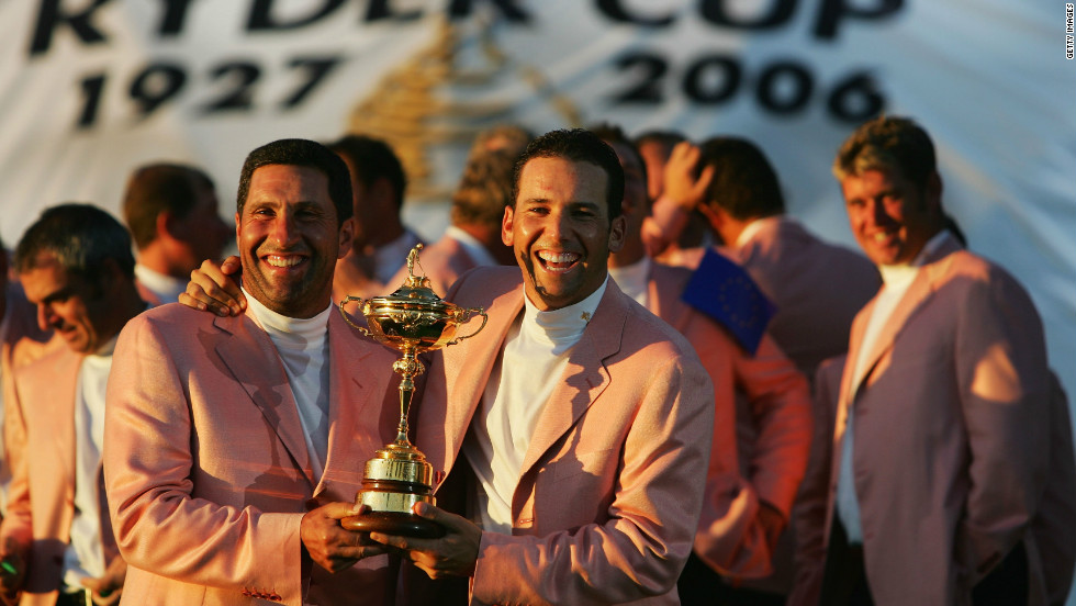 Another Spaniard to have enjoyed success in the Ryder Cup is Sergio Garcia, who is part of Olazabal's 2012 team. The pair are pictured here after Europe's crushing 18 1/2 - 9 1/2 win at the K Club in 2006.