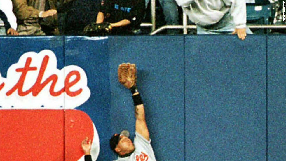 A 12-year-old baseball fan named Jeffrey Maier reached over the fence to deflect a ball hit by the Yankees' Derek Jeter into the stands for a home run during the 1996 ALCS against Baltimore. Jeter could have been called out for fan interference.