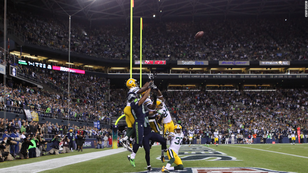 Wide receiver Golden Tate of the Seattle Seahawks makes a catch in the end zone to defeat the Green Bay Packers on a controversial call by the officials at CenturyLink Field on Monday.
