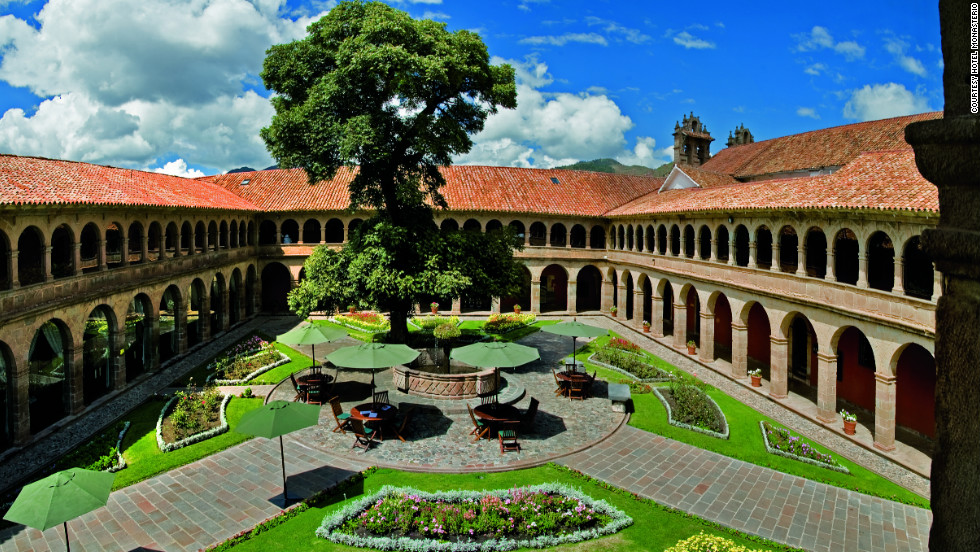 The Hotel Monasterio is located in the former Incan capital city of Cuzco, off a central square.