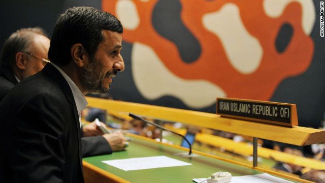Mahmoud Ahmadinejad, President of Iran, takes a seat with his delegation during the 67th session of the United Nations General Assembly September 26, 2012 at UN headquarters in New York. AFP PHOTO/Stan HONDA        (Photo credit should read STAN HONDA/AFP/GettyImages)