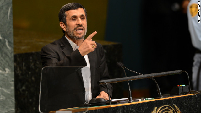 Iran's President Mahmoud Ahmadinejad addresses the 67th UN General Assembly at the United Nations headquarters in New York, September 26, 2012.  AFP PHOTO/Emmanuel DUNAND        (Photo credit should read EMMANUEL DUNAND/AFP/GettyImages)