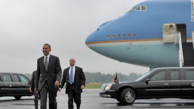 President Barack Obama exits Air Force One in Ohio Wednesday after an initial landing attempt was aborted.