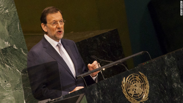 Spain's Prime Minister Mariano Rajoy addresses the United Nations General Assembly on September 25, 2012 in New York City.