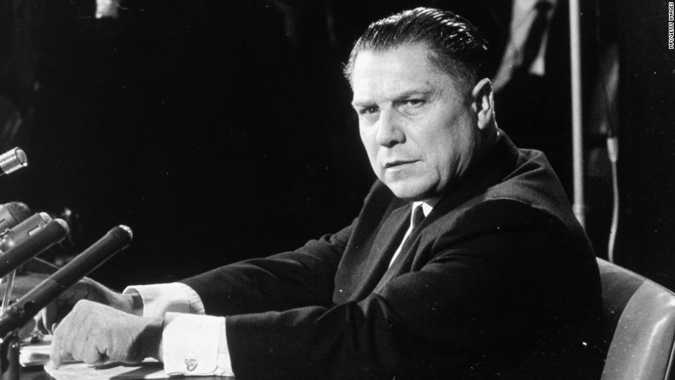 Hoffa, pictured circa 1960, was a powerful labor leader at a time when unions wielded a great deal of sway over elections and were notoriously tied to organized crime.