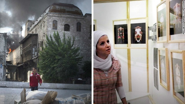 Two images taken in the same week in the center of Aleppo. On the left is a burning building in the old city on September 22; on the right is the opening of Aleppo Photo Festival at Le Pont Gallery on September 15.