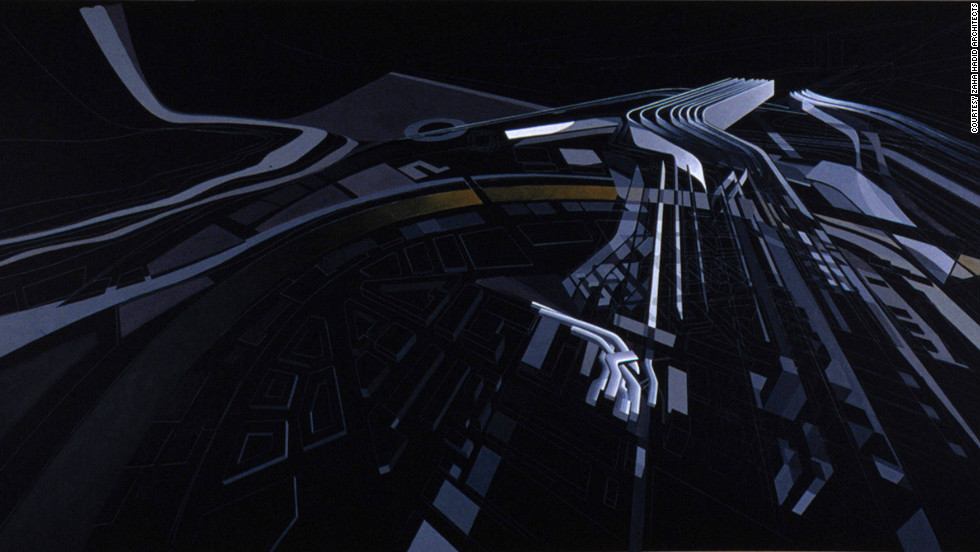 "This painting shows how the building plan took shape. ""The site was a car factory converted into a military barracks and the big decision was [whether] to keep the barracks or demolish them,"" Hadid says. ""I decided consciously to demolish them because I thought a new institution for contemporary art should not be housed in an existing building."""