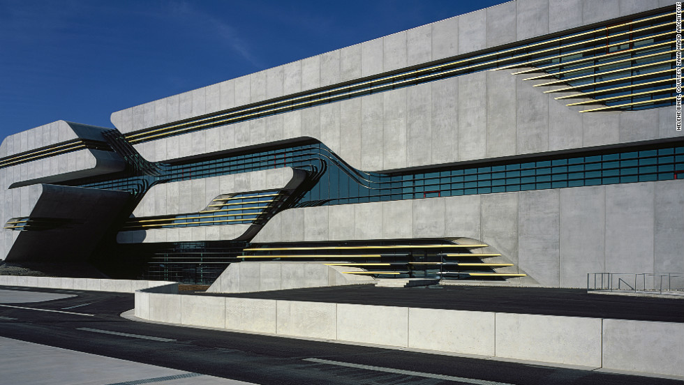 "One of her most recent projects is the <a href=""http://www.zaha-hadid.com/architecture/pierrevives/"" target=""_blank"">Pierresvives building</a> for the Department de l'Herault in Montpellier, France. Her design was inspired by rock crevices, and the resulting interplay of light."