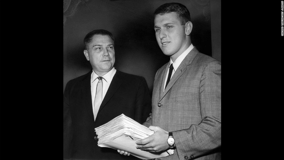 Hoffa and his son, James Phillip, enter a federal courtroom in July 1964. His son is the current president of the Teamsters.