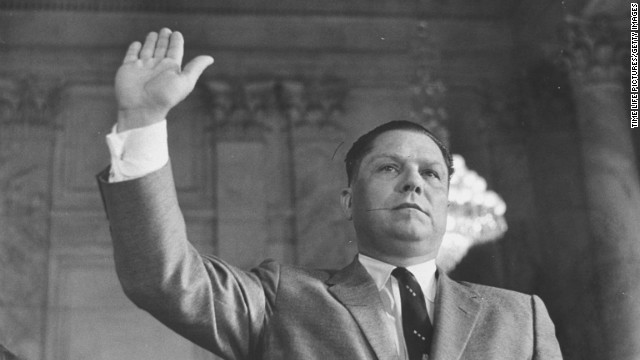 James R. Hoffa testifying at Rackets Committee hearing.  (Photo by Paul Schutzer//Time Life Pictures/Getty Images)