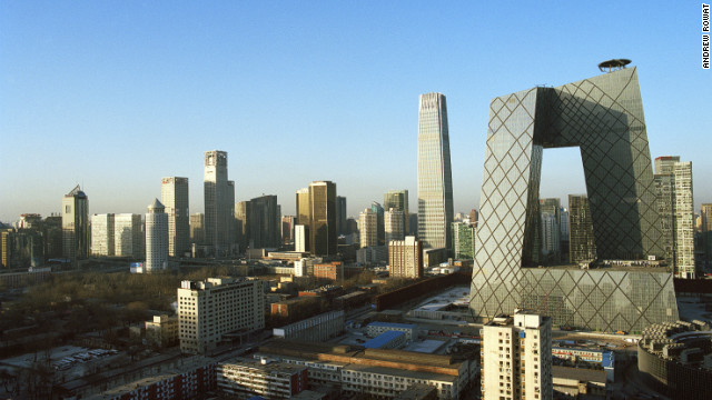 The CCTV building in Beijing (right), designed by Rem Koolhaas
