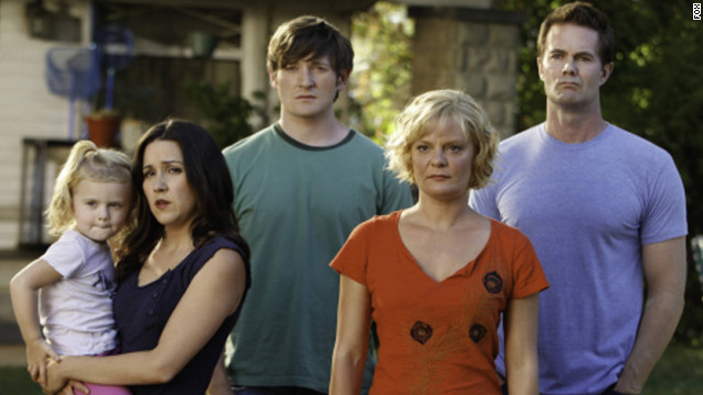"Martha Plimpton, second from right, who plays Virginia on ""Raising Hope,"" will clean one fan's house to promote the Fox show."