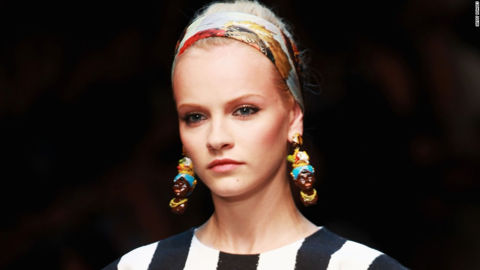 "The Italian fashion house Dolce & Gabbana faced allegations of racism in 2012 for earrings that some people thought portrayed racist stereotypes. An article on D&G's website <a href=""http://www.swide.com/art-culture/exhibition/caltagirone-ceramics-in-ss-2013-women-fashion-show-dolcegabbana-collection/2012/09/23"" target=""_blank"">Swide.com</a> explained that the earrings were inspired by Moorish features and that ""Moorish is a term used to define many peoples throughout history."""