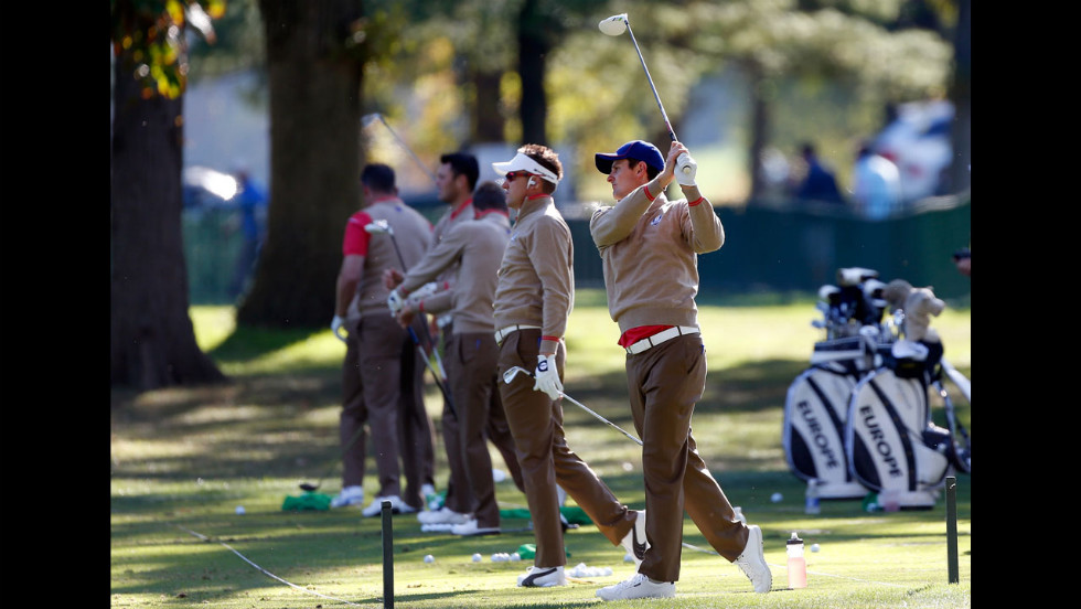 Members of Team Europe practice Thursday.