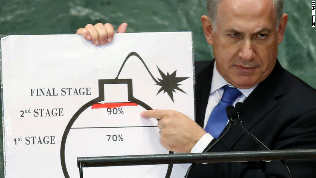 Benjamin Netanyahu, Prime Minister of Israel, points to a red line he drew on a graphic of a bomb while addressing the United Nations General Assembly on September 27, 2012 in New York City. The 67th annual event gathers more than 100 heads of state and government for high level meetings on nuclear safety, regional conflicts, health and nutrition and environment issues. (Photo by Mario Tama/Getty Images)
