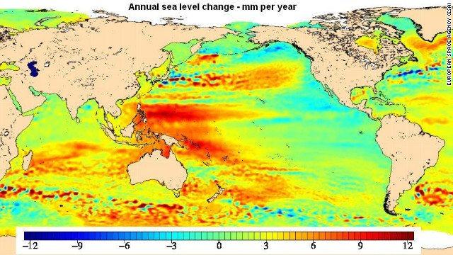 Annual mean global sea-level changes 1992-2010 (ESA)