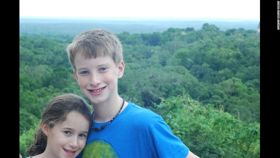 Gilbert's children, Jake and Lexi, in Tikal, Guatemala -- the last family vacation before Gilbert's surgery.
