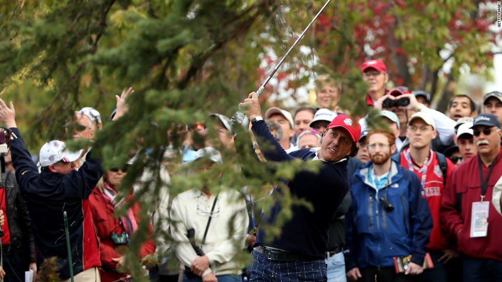 Phil Mickelson hits a shot on the fifth hole on Friday.