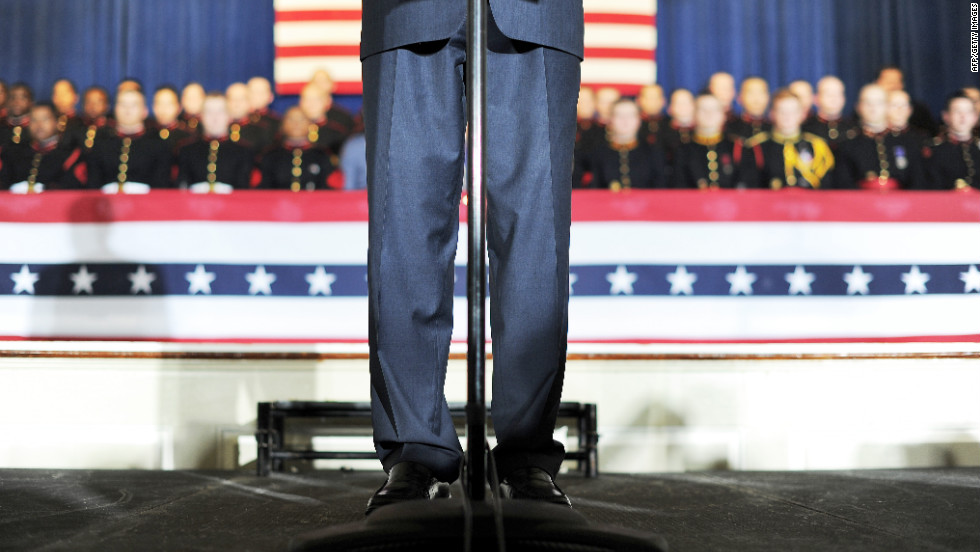 Romney addresses Friday's rally at the Valley Forge Military Academy and College.