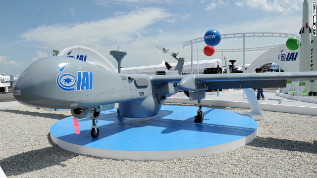 An Israel Aerspace IndustriesUAV on display at the Singapore Airshow on February 15.