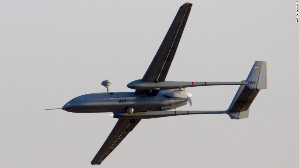 An Israeli Hermes 500 UAV flies over the Hatzerim air force base near Beersheva, Israel, during an air show at the graduation ceremony of Israeli pilots on June 30, 2011.