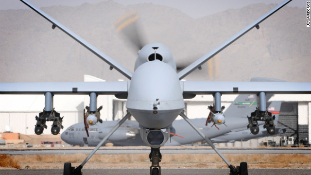 A British MQ-9 Reaper sits on a runway March 17. Both British and American Reapers are deployed to Afghanistan.