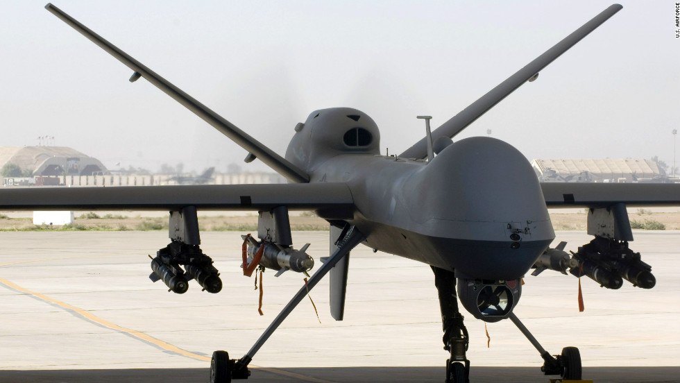 An MQ-9 Reaper unmanned aircraft vehicle (UAV) sits in a shelter at Joint Base Balad, Iraq, after a mission on November 10, 2008. According to the U.S. Department of Defense, the Reaper can carry up to 3,750 pounds of laser-guided bombs and missiles.