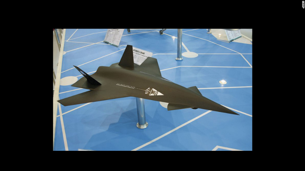 "A model of China's ""Dark Sword"" UAV.  According to Jane's Defense & Security Intelligence & Analysis, the drone remains only a model, but offers an example of where China may go with its drone technology."